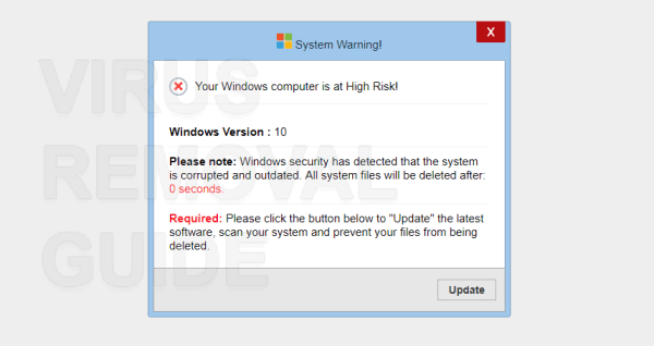 Microsoft Windows system has detected adware