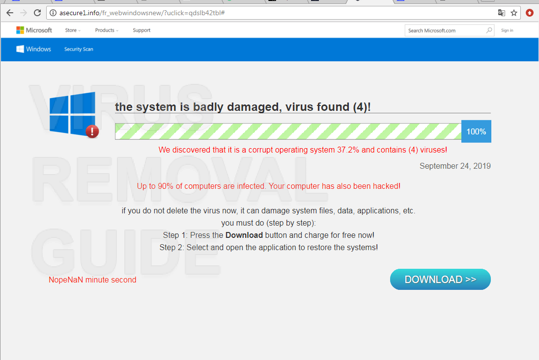 The system is badly damaged, virus found (4)!