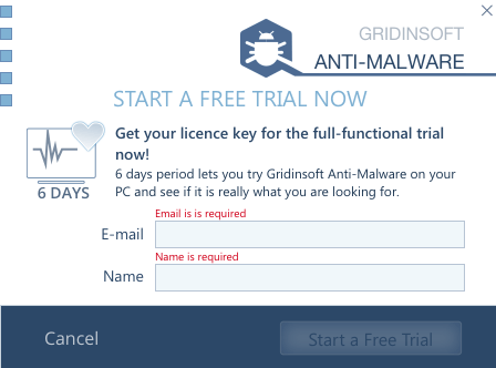 Free trial activation GridinSoft Anti-Malware