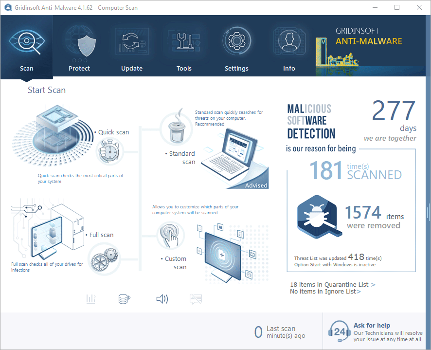 GridinSoft Anti-malware — A fast, efficient antivirus tool with a beautiful interface