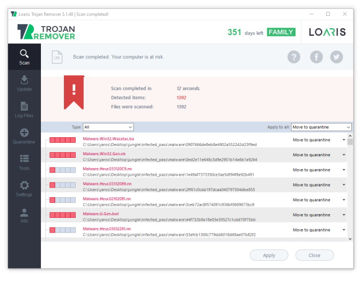 Loaris Trojan Remover after the scan process