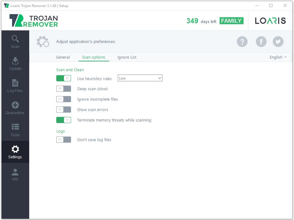 Scan settings in Loaris