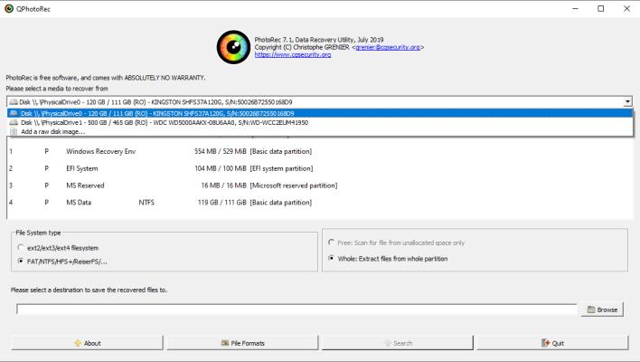 PhotoRec main screen