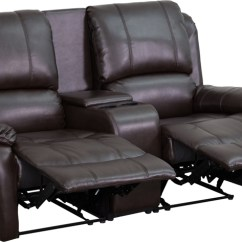 2 Seat Theater Chairs Dining Room Table Chair Cushions Allure Series Reclining Pillow Back Brown Leather Image Is Loading