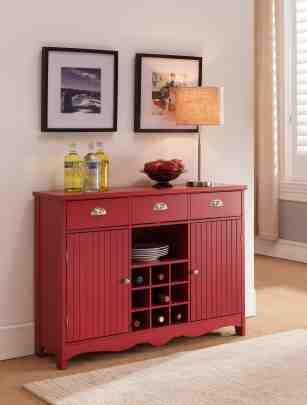 Red Wood Wine Rack Sideboard Buffet Display Console Table With Storage Drawer For Sale Online