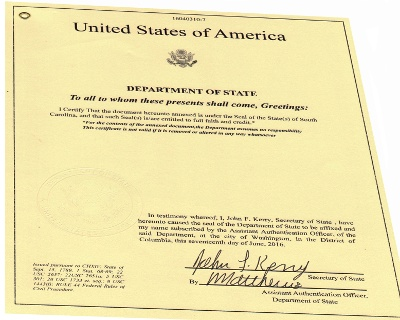 Sample Documents Authenticated By Secretary Of State