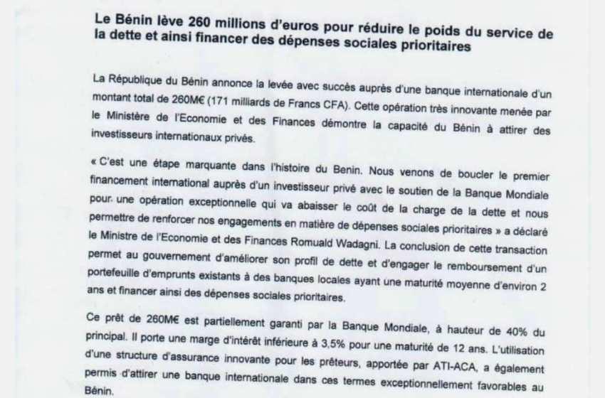 Suite au succès de l'opération de reprofilage de dette : La Banque Mondiale et le Fmi modélisent le Bénin