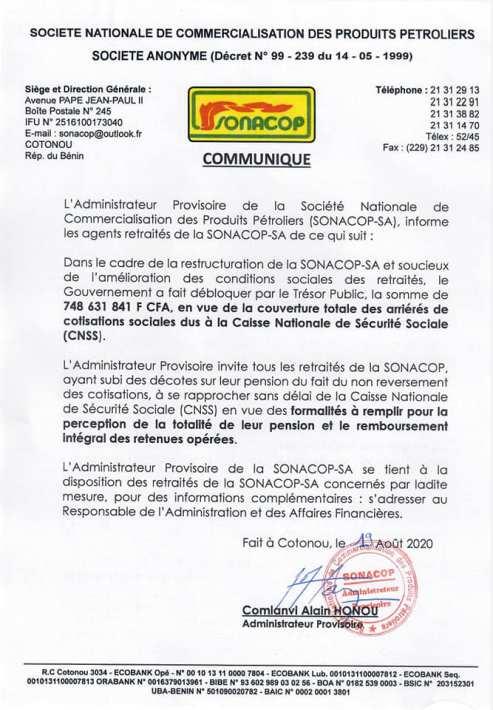 Communiqué SONACOP 02