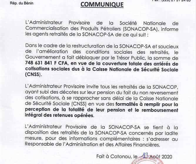 COMMUNIQUES : PRES D'UN MILLIARD DE FCFA POUR LES RETRAITES ET DES AYANTS DROIT DES AGENTS DE LA SONACOP DÉCÉDÉS EN FONCTION