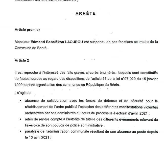 Bénin / Décentralisation: Les 04 fautes lourdes à la charge du Maire de Banté relevé