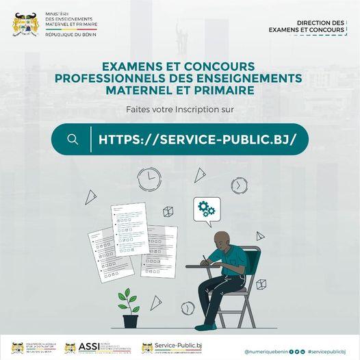 Bénin/Education : L'inscription en ligne pour les Examens et Concours Professionnels des Enseignements Maternel et Primaire désormais possible