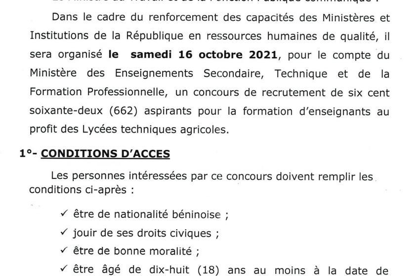 #Bénin: Le Gouvernement recrute 662 aspirants à former au profit des Lycées techniques agricoles