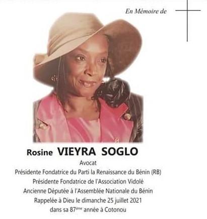 #Bénin : La présidente Rosine Soglo inhumée le 11 Septembre 2021