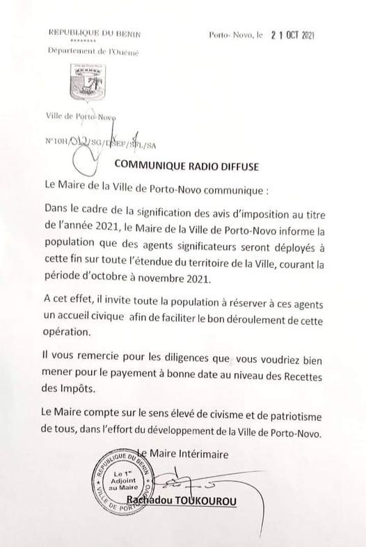 Municipalité de Porto-Novo / Avis d'imposition 2021 : Le Maire Yankoty invite ses administrés à réserver un accueil civique aux agents significateurs