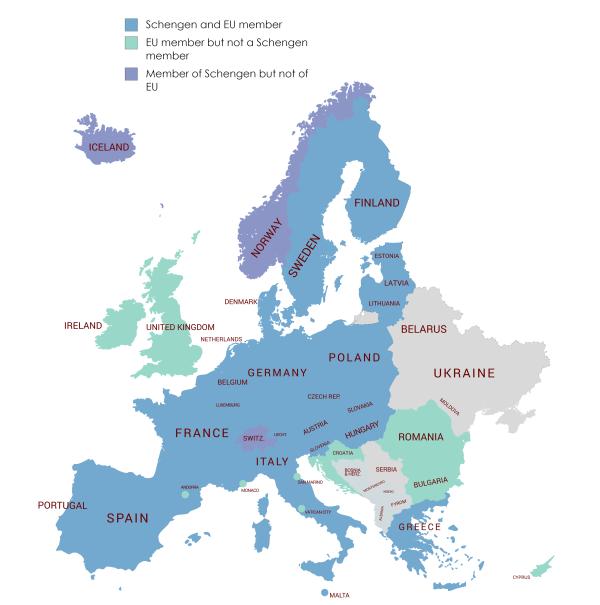 Schengen Countries Schengen Area Member States
