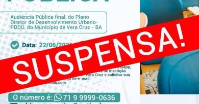 Vera Cruz: Audiência Pública do PDDU foi suspensa mais uma vez