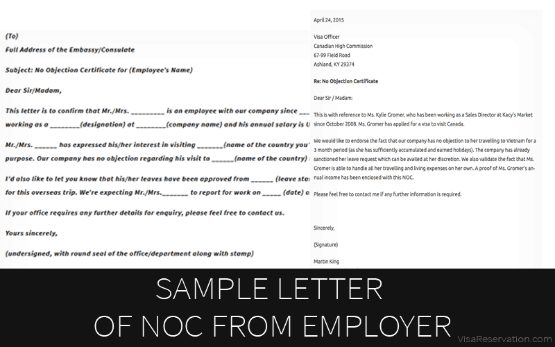 sample of noc letter from company