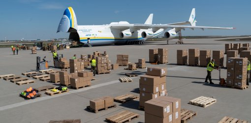 The Antonov 225 Mriya, the world's largest aircraft, landed at Leipzig/Halle Airport on Monday morning.