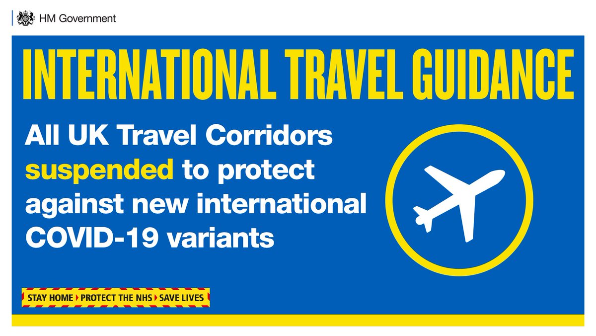 All international arrivals to the UK from any country (including British and Irish Nationals) must now take a pre-departure test and self-isolate for 10 days