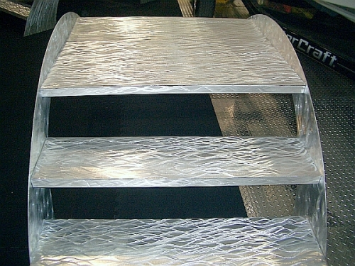brushed aluminum boat show steps and boat show stairs and boat show ipad stands and convention I