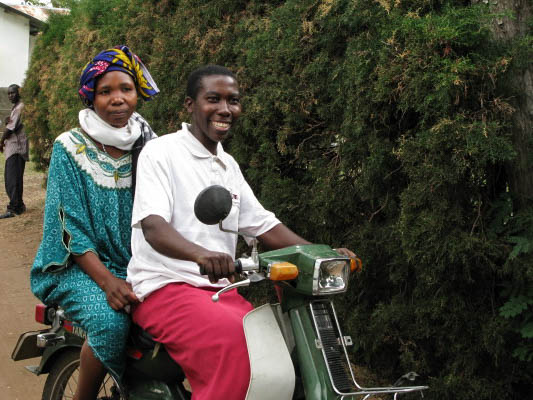 Women riding motorbike