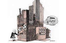 Datamusikk 1974. Tegning: Øyvind Rauset.