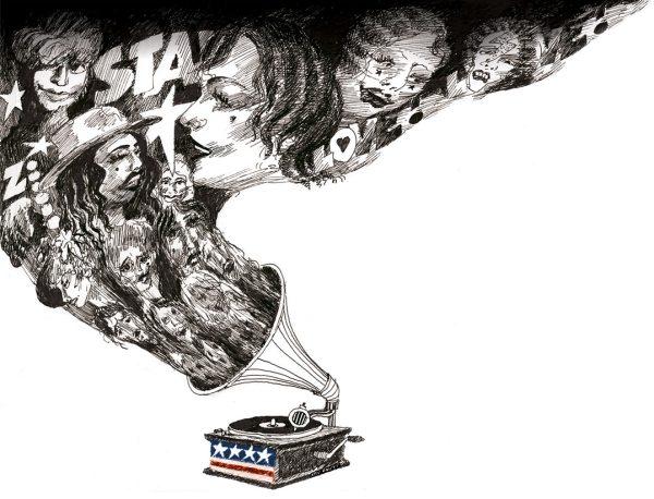 Amerikansk musikkindustri. Tegning: Øyvind Rauset.