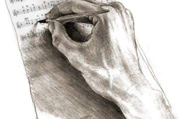 Noter som skrives av en hånd
