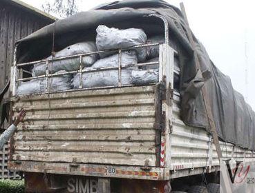 Heavily laden lorry