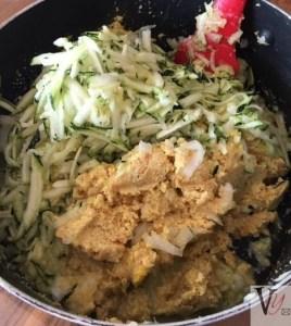 Grated vegetables and batter