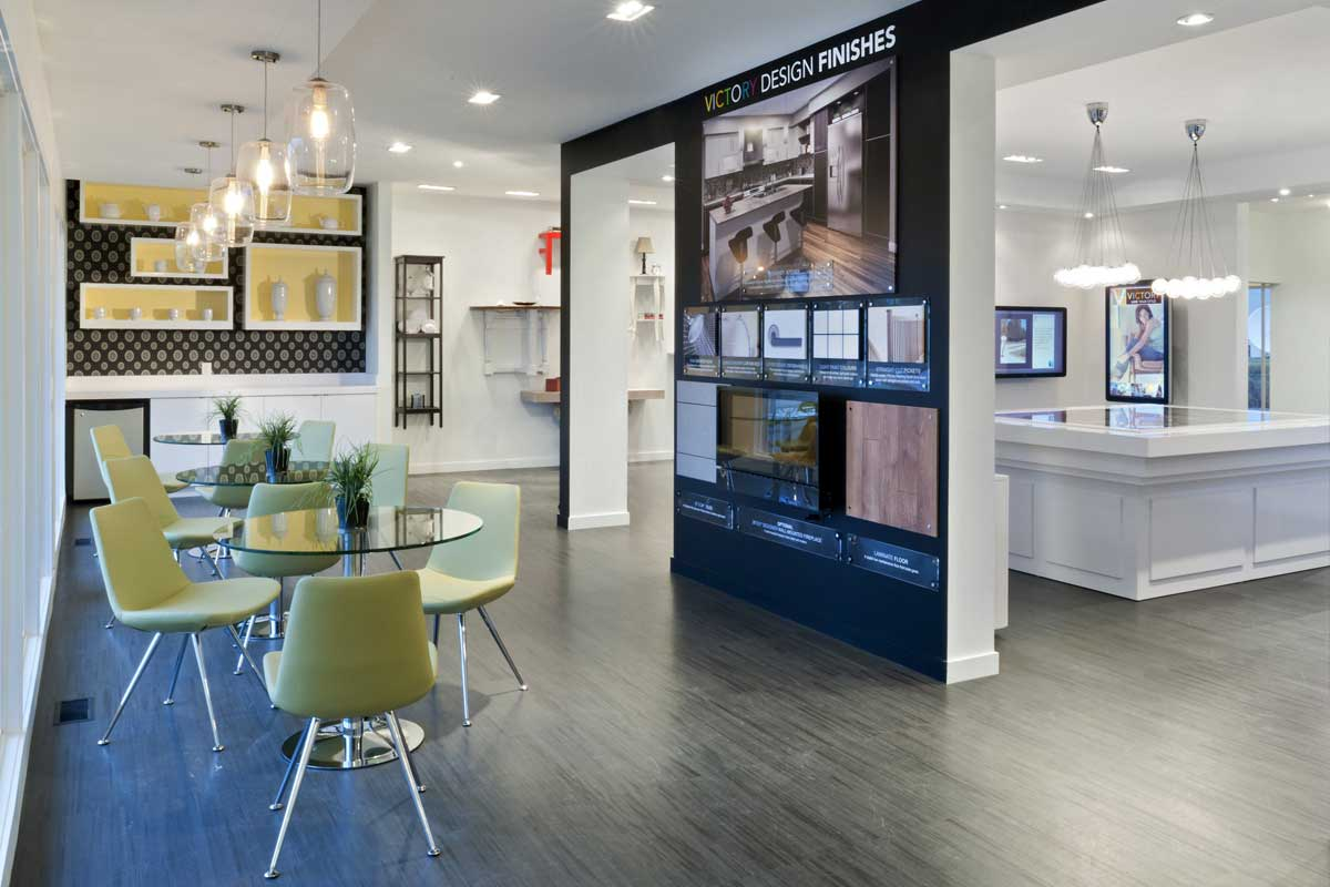 commercial building design center featuring olive chairs