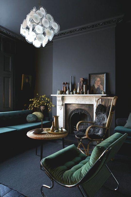 Black design living room