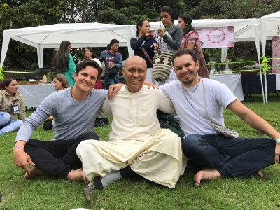 Prabhu Chaitanya Das (center),  and Juan Carlos (Right) My dear friend and Yoga Teacher