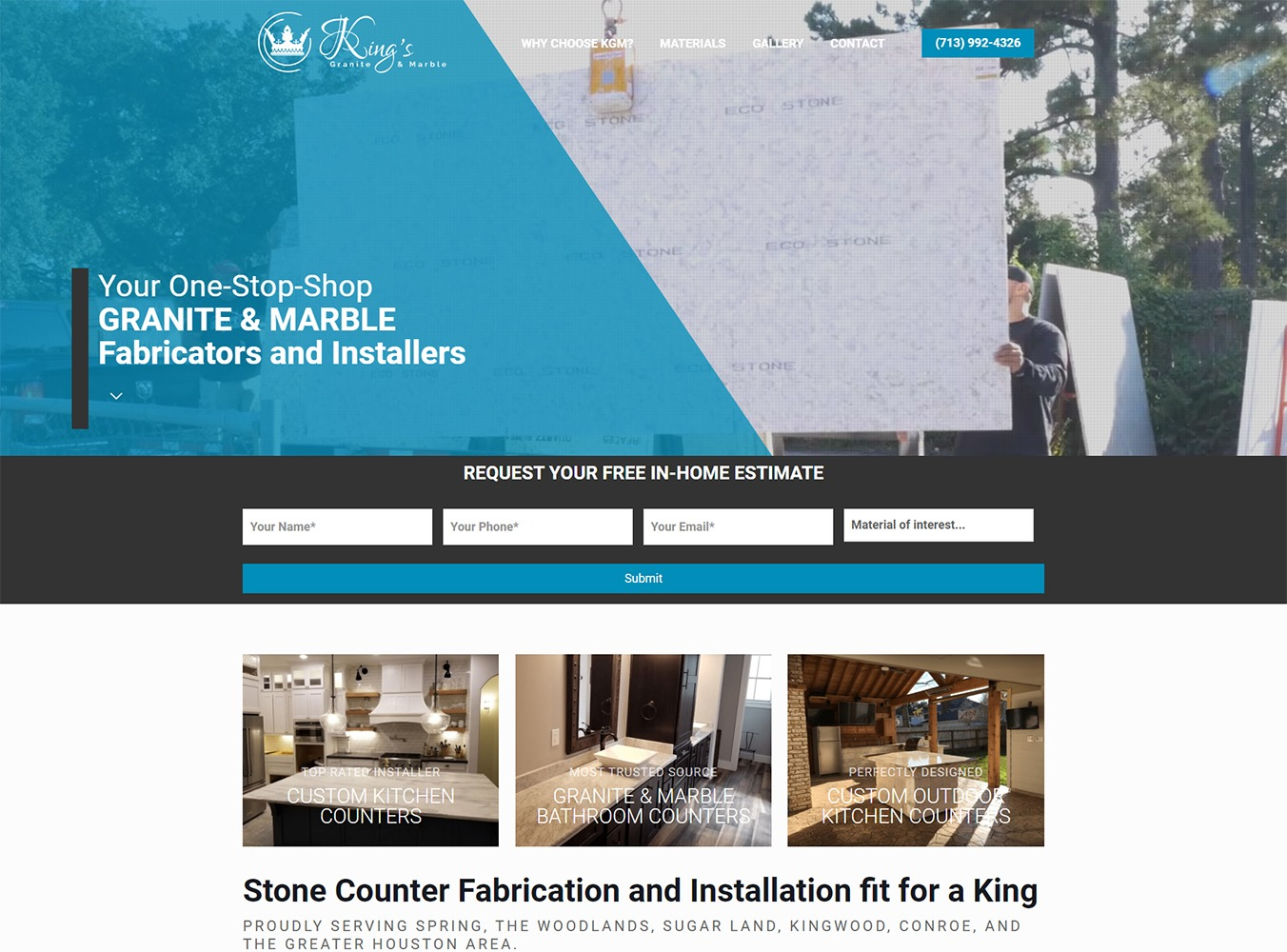 King's Granite & Marble Website Development by Visibly Connected
