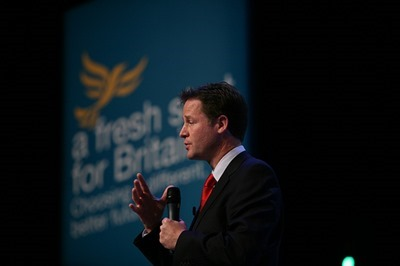Nick Clegg takes questions from conference delegates at the Lib Dem Autumn conference in Bournemouth 2009