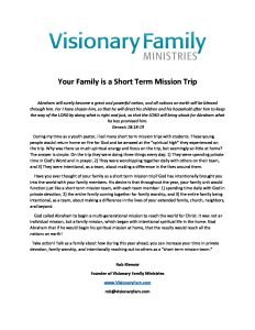 Your Family is a Short Term Mission Trip