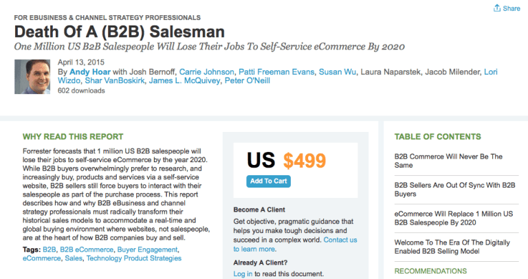 Forrester research on B2B sale