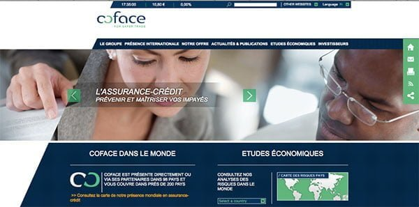 Coface - page d'accueil du site internet