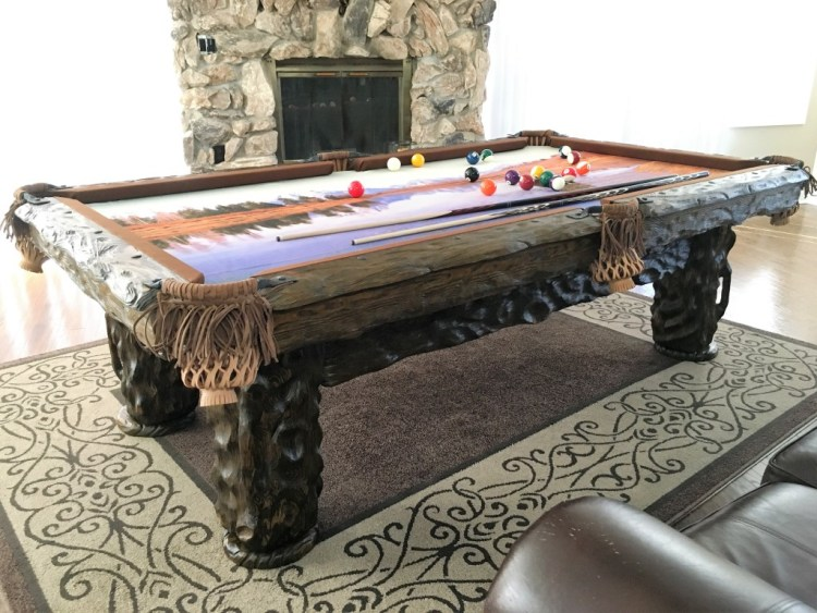 Wilderness rustic log pool table by Vision Billiards