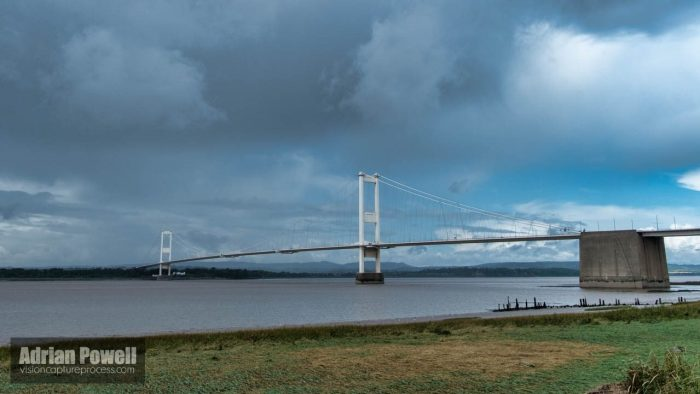 Severn Bridge, from Aust Beach, Gloucestershire, England
