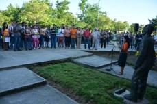 El Destacamento Oscar Lucero Moya, de la Universidad de Holguín, integrado por estudiantes que se incorporan a impartir docencia en instituciones educacionales del territorio, fue abanderado en la Sede que lleva el nombre del mártir holguinero. Efectuado el jueves 15 de septiembre de 2016. UHO FOTO/Luis Ernesto Ruiz Martínez.