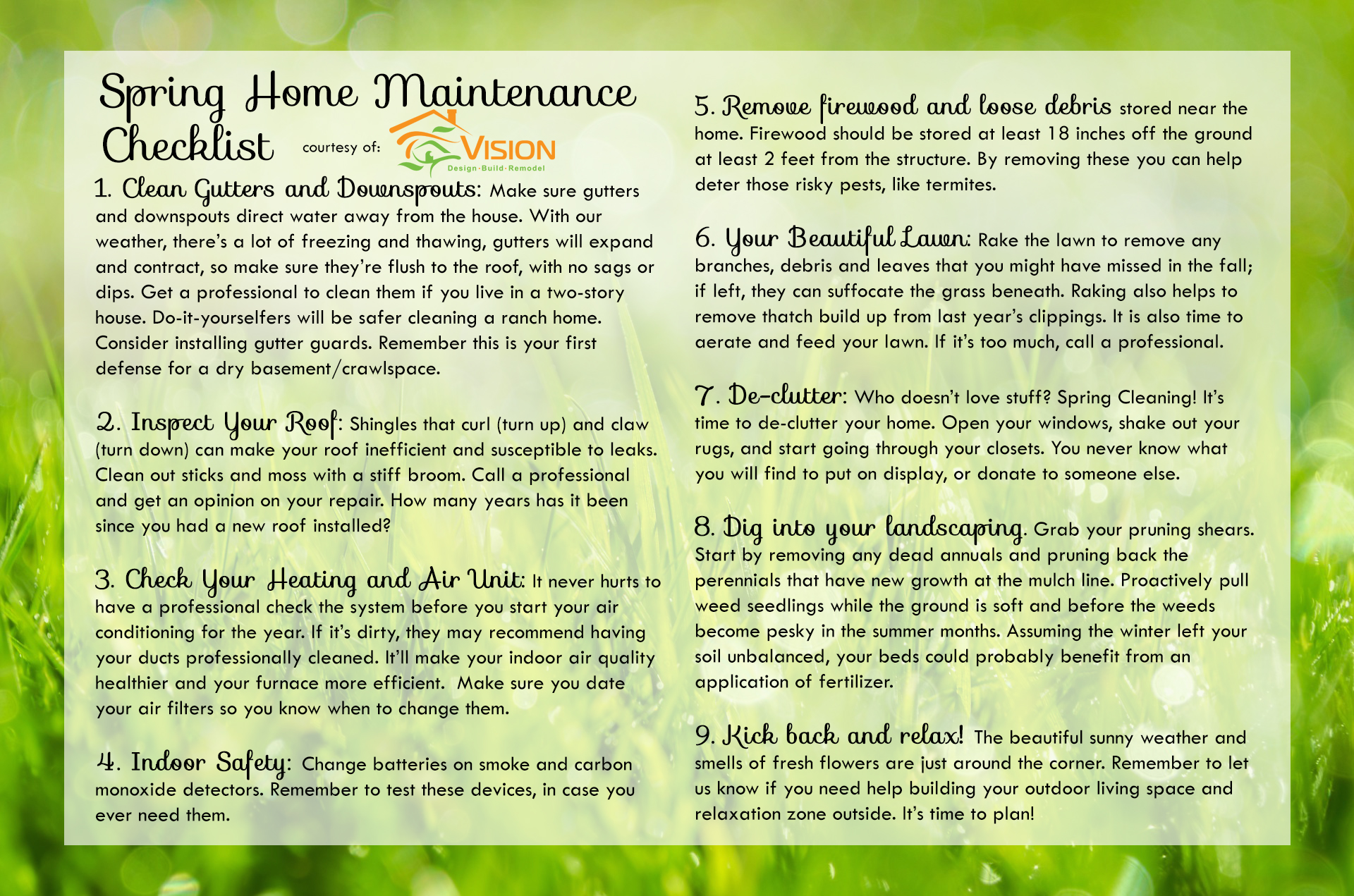 Spring Home Maintenance Checklist  Vision Design Build Remodel Lenoir NC