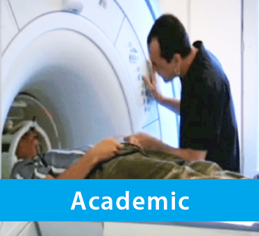 Photo for Academic drop-down banner shows World Access For The Blind President and Lead Perceptual Navigation Instructor Daniel Kish strapped into an MRI machine as part of partnered research into Flash Sonar Echolocation. Click the down arrow to expand the text section.