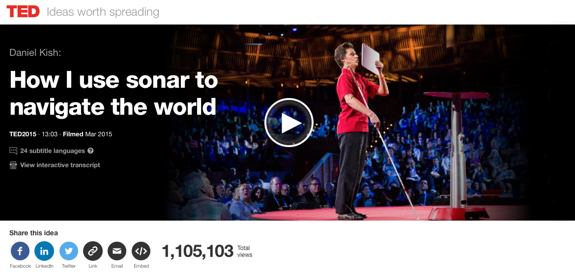TED. Ideas worth spreading. Daniel Kish: How I use sonar to navigate the world. Videlink shows Daniel onstage at TED. This video has 1 million, 1 hundred 5 thousand, one hundred and three total views.