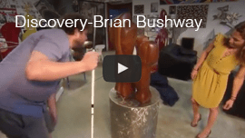 Discovery - Brian Bushway. Video image: Brian works with forensic artist Melissa Cooper to describe the shape of a carved wooden object.