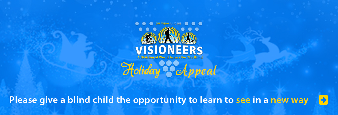 Visioneers Holiday Appeal. Please give a blind child the opportunity to learn to see in a new way. Image Illustration of Santa and his reindeer above treetops in falling snow.