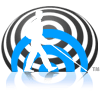 World Access For The Blind logo icon shows a white silhouette of Daniel Kish walking with his navigation cane against blue and grey Flash Sonar waves.