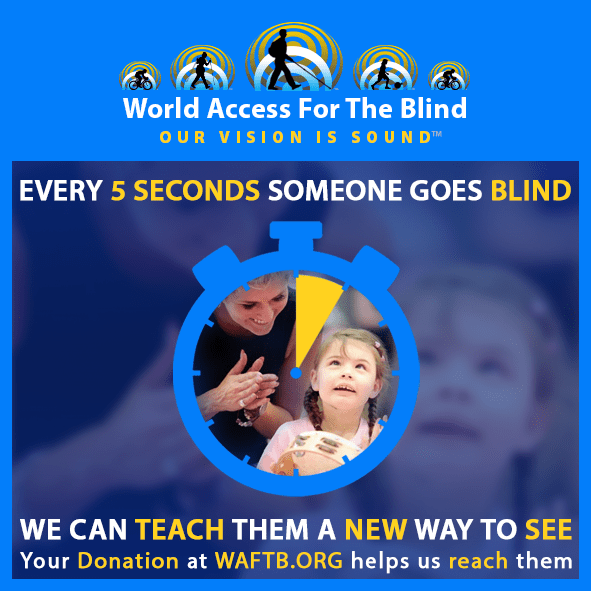 Every 5 seconds someone goes blind. We can teach them a new way to see. Your donation at waftb.org helps us to reach them. Image shows an outline of a stopwatch with 5 seconds highlighted in yellow and an inset photo of Kristy Hooper clapping her hands while her blind daughter Lily-Grace plays a tamourine.