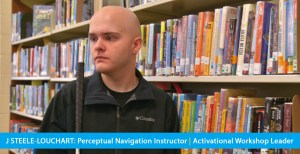 Page banner shows a photo of J Steele-Louchart in a library. The Text band reads: J Steele-Louchart : Perceptual Navigation Instructor | Activational Workshop Leader.
