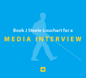 Blue Link Box with a light blue silhouette of Daniel Kish reads: Book J Steele-Louchart for a Media Initerview. Click on the box to go to the booking page.